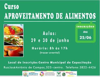 Inscrições abertas para o Curso de Aproveitamento de Alimentos
