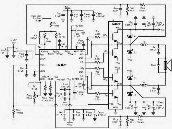 170w power amplifier based lm4651 and lm4652