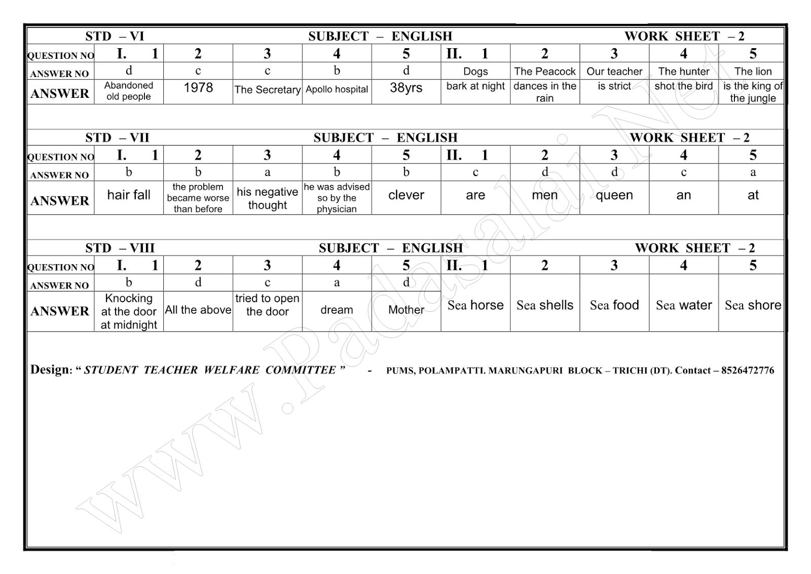 Gurukulam Cce Worksheet 2