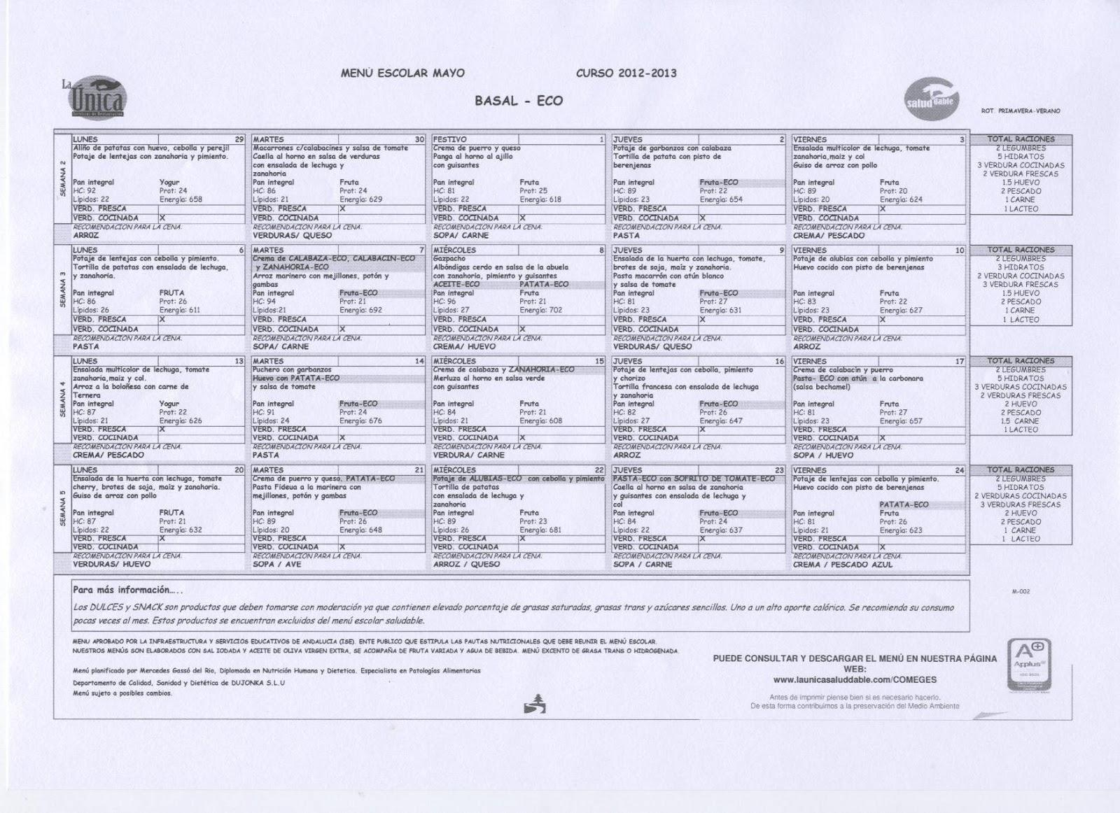 Comedores Ugr Calendario.