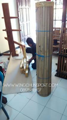 Pengemasan dengan 'kerai bambu' setelah dibungkus dengan single face