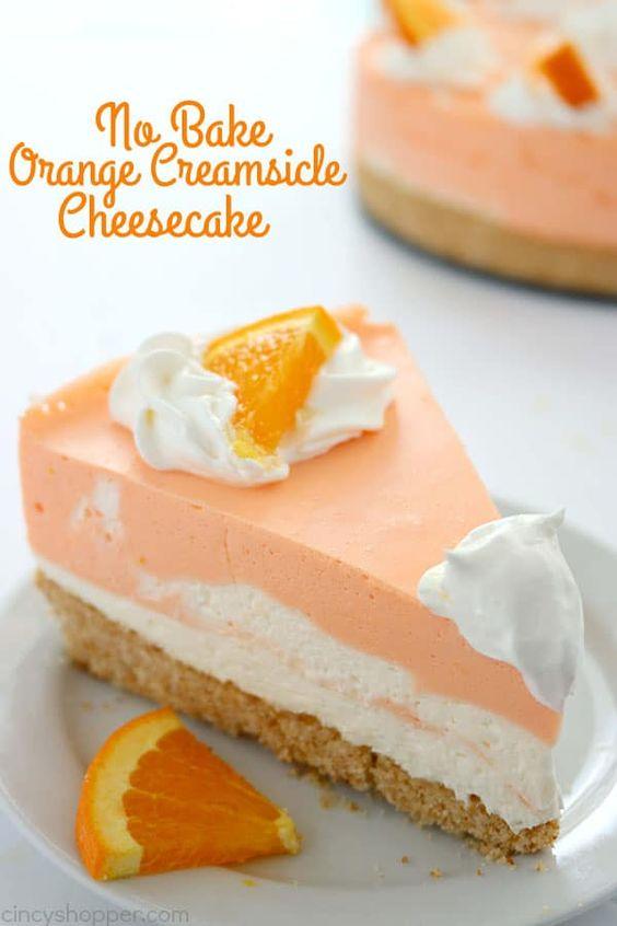 Delicious No Bake Orange Creamsicle Cheesecake