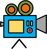 Fun and colorful icon of a video camera