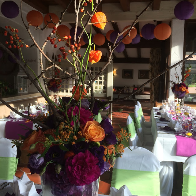 Hochzeitslocation Seehaus Herbst-Hochzeit in den Bergen, Lila, Orange, Riessersee Hotel Garmisch-Partenkirchen, Bayern, Autumn wedding in Bavaria, Lilac and Orange