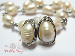 Wire wrapped pearl stud earrings