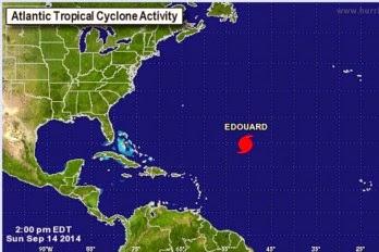 tormenta tropical Edouard se convirtió esta mañana en el cuarto huracán de la temporada, 14 de Septiembre 2014