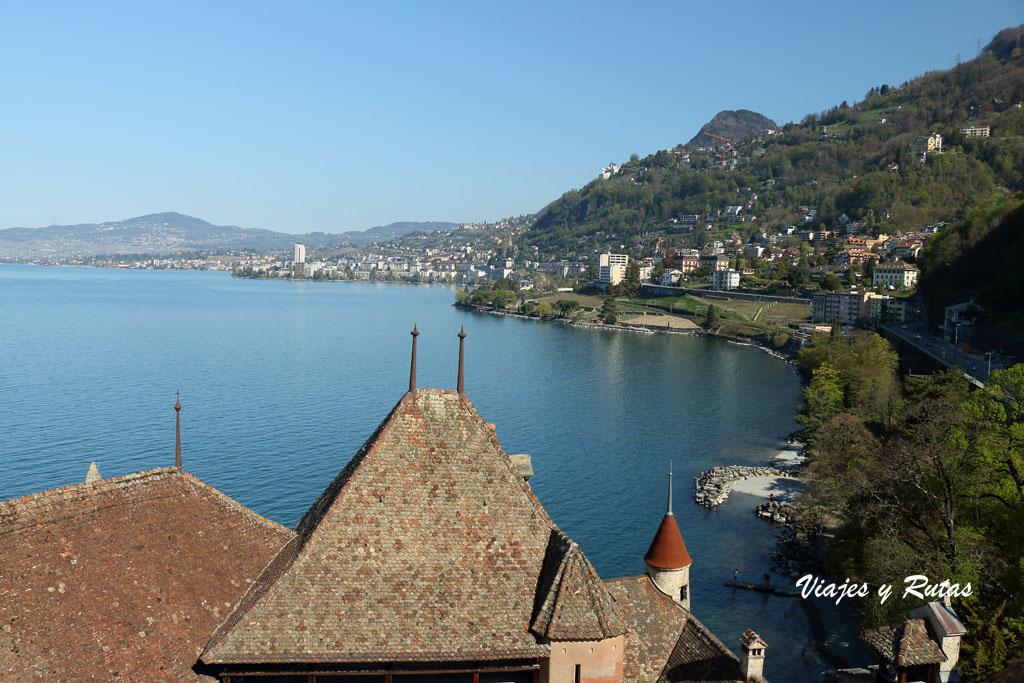 Vistas del lago Leman desde el castillo de Chillon
