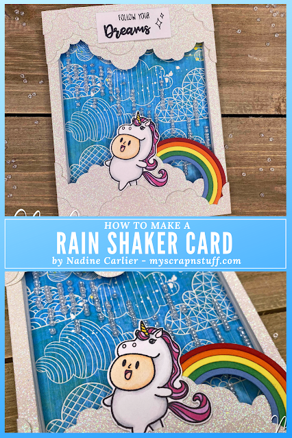Unicorn Rain Shaker Card by Nadine Carlier