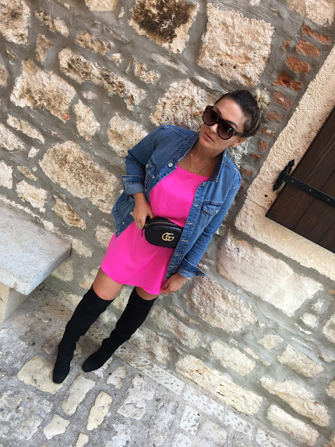 OTK boots, Rovigno, Rovinj, pink dress, 30s club, how to dress in your 30s, blogger style, how to wear OTK boots, how to wear hot pink, canadian fashon blogger