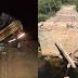 ÉRICO CARDOSO-BA: CAMINHÃO CARREGADO COM MANGA CAI EM BURACO APÓS PONTE CEDER