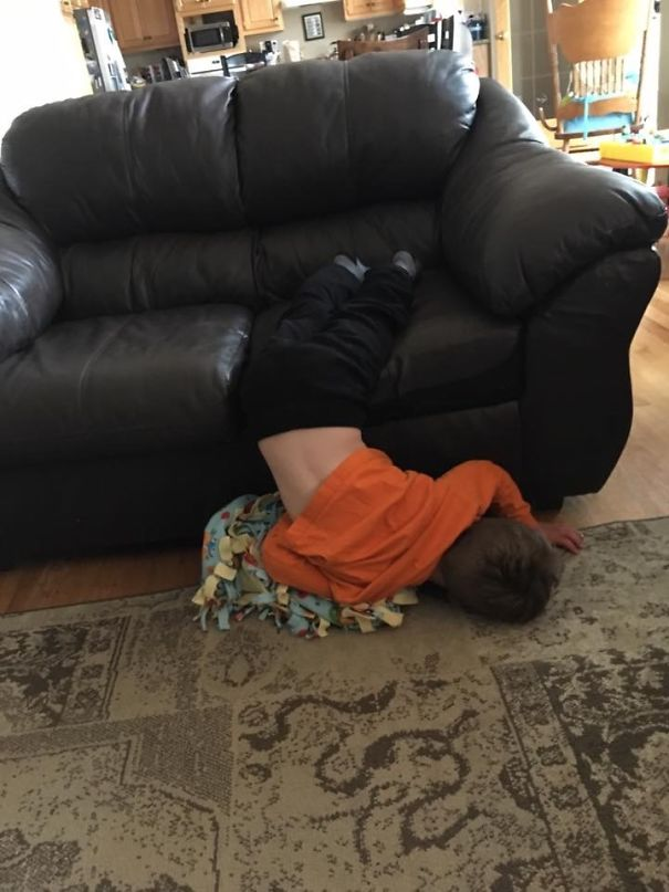15+ Hilarious Pics That Prove Kids Can Sleep Anywhere - Fell Off Couch Mid-nap And Kept Sleeping