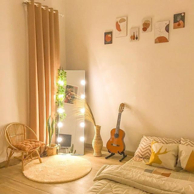 Desain Kamar Tidur Ala Korea dengan Dekorasi Lampu Hias