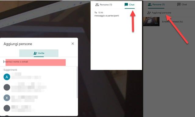 aggiungere partecipanti e chattare