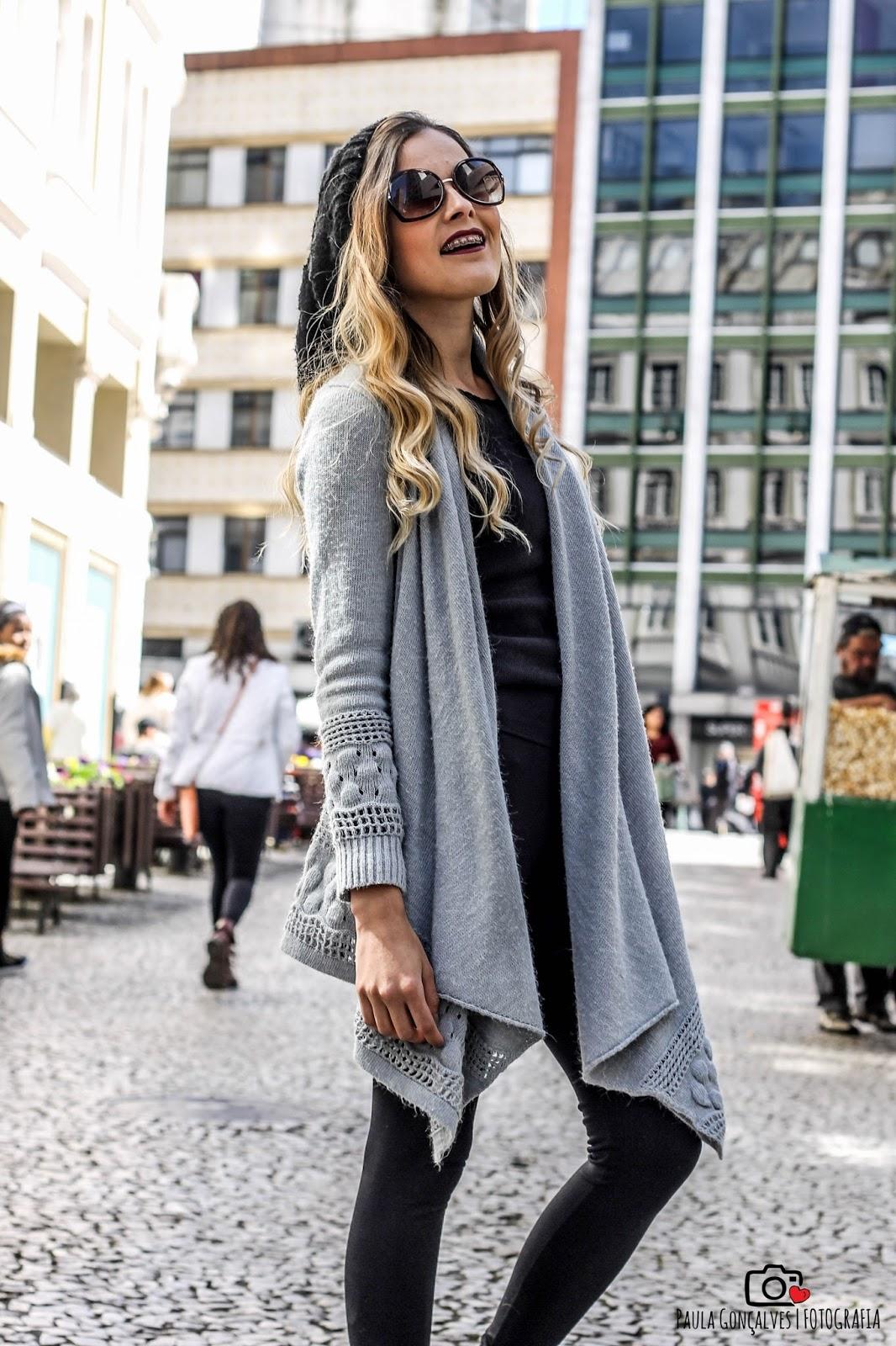 look casaco assimétrico e touca beanie, ally arruda