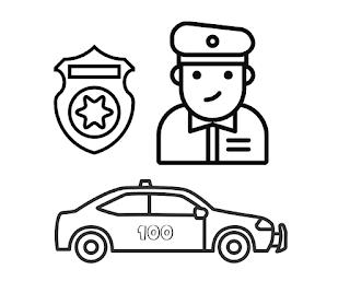 דף צביעה שוטר וניידת משטרה