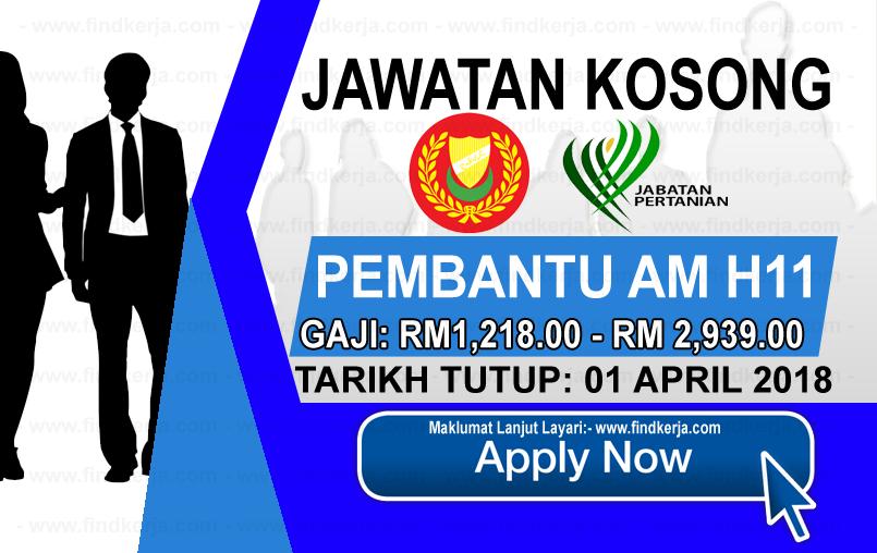 Jawatan Kerja Kosong Jabatan Pertanian Negeri Kedah logo www.findkerja.com april 2018