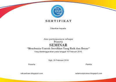 Desain Sertifikat / Piagam Seminar CDR File | Design Corel