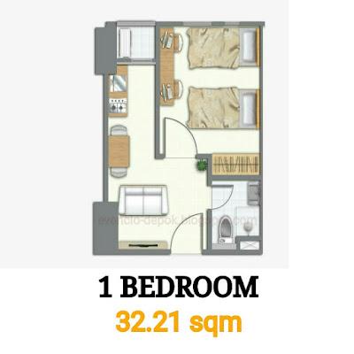 Tipe 1 bedroom evencio, Tipe 1 br evencio, Tipe 1 bedroom apartemen, 1br evencio