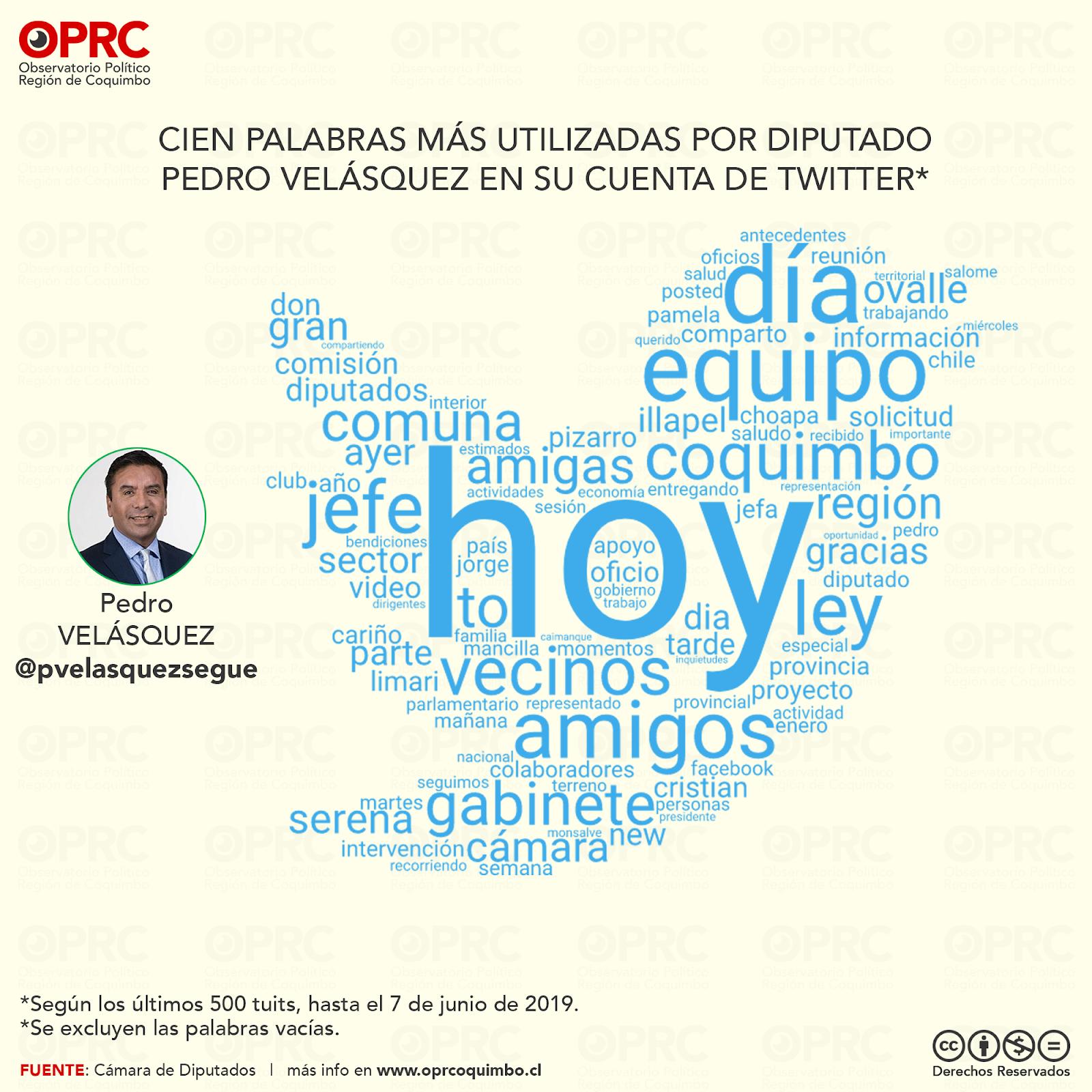 Palabras más usadas por Diputado Pedro Velásquez en Twitter