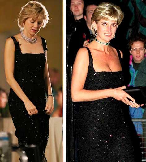 Diana (naomi watts) e foto real vestido preto