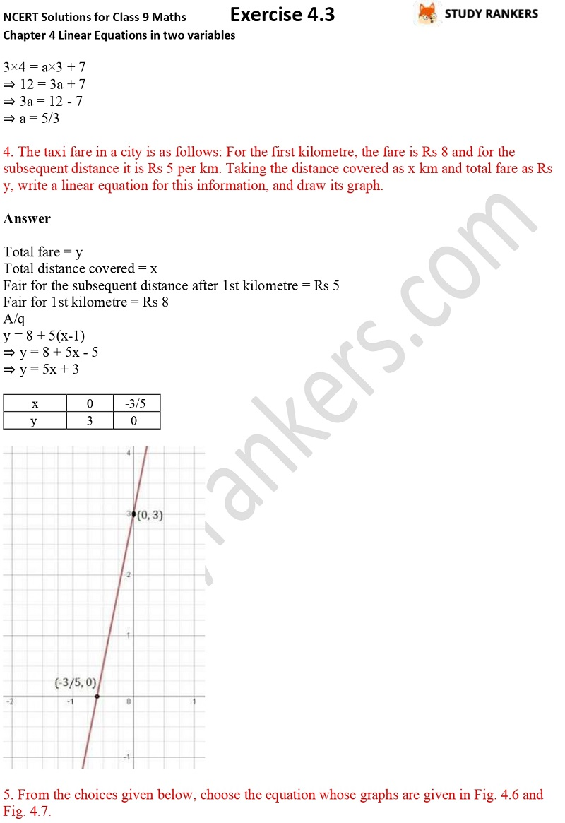 NCERT Solutions for Class 9 Maths Chapter 4 Linear Equations in Two Variables Exercise 4.3 Part 4