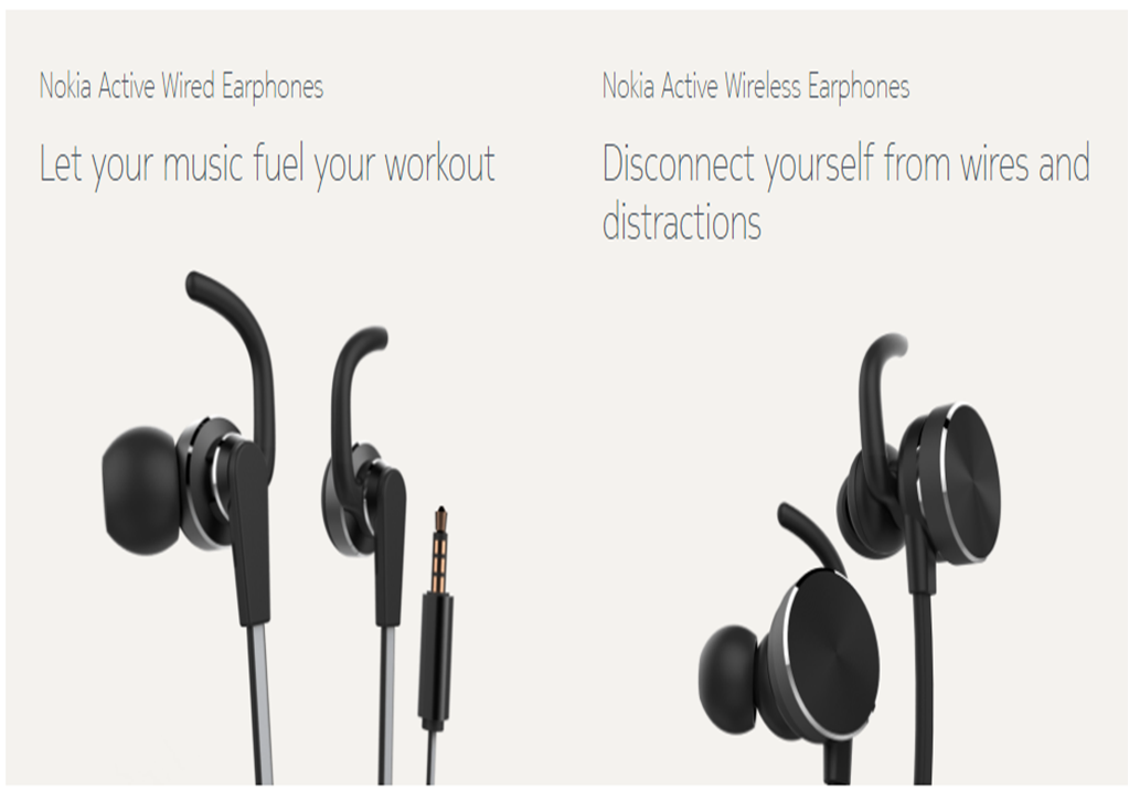 nokia active wireless earphones. hmd global announces nokia active wired and wireless earphones. earphones e
