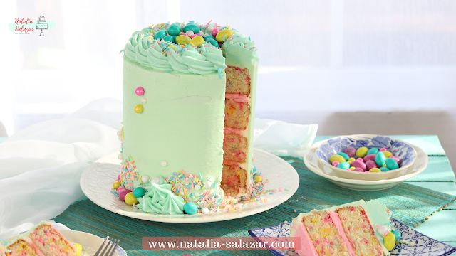 Receta de pastel de grageas o sprinkles Natalia salazar
