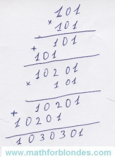 Cube of 101 in a column on a piece of paper. Mathematics For Blondes.