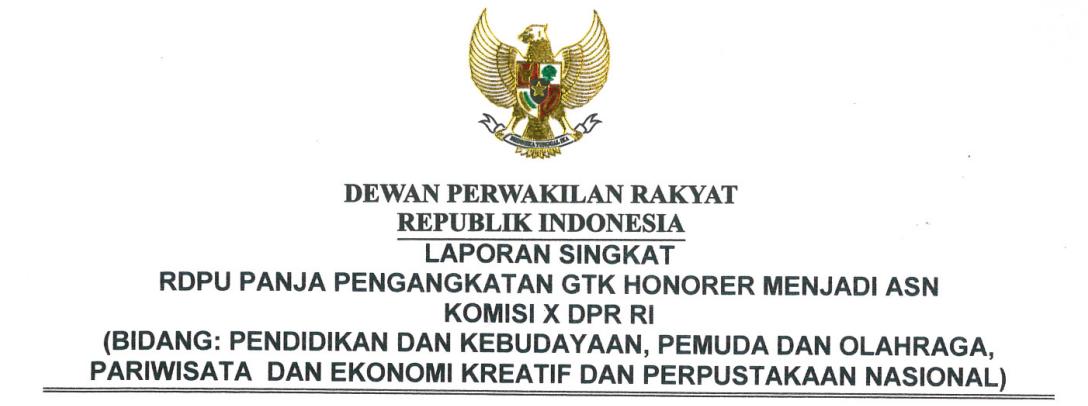 Resume Hasil Sidang Panja Komisi X DPR RI Pengangkatan GTK Honorer Menjadi ASN