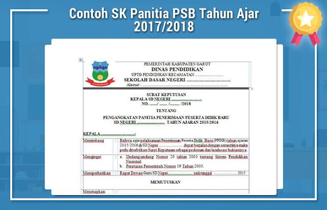 Contoh SK Panitia PSB Tahun Ajar 2017/2018
