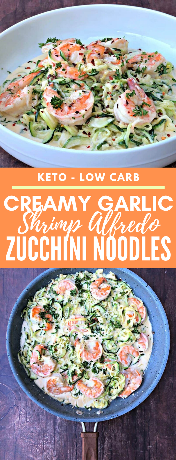 Keto Low-Carb Creamy Garlic Shrimp Alfredo Zucchini Noodles (Zoodles) #healthy #diet #ketogenic #seafood #nocarb