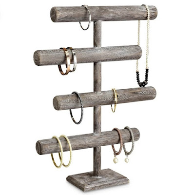 Wooden 4-Tier Jewelry Display Stand holding bracelets and necklaces