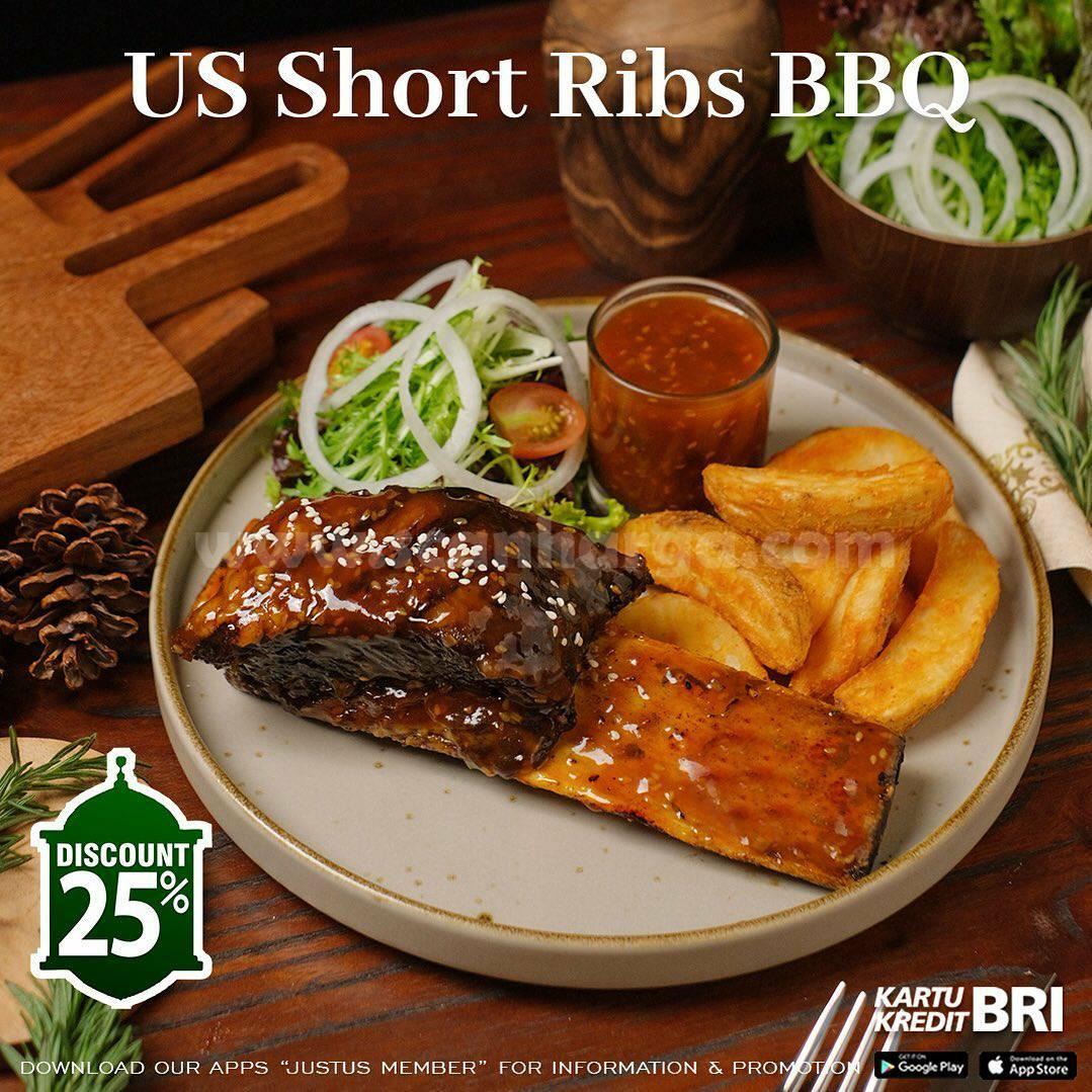 Justus Steak House Promo BUKBER – Diskon 25% dengan Kartu Kredit BRI
