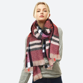 burgundy plaid cozy winter scarf with neon pink and black stripes