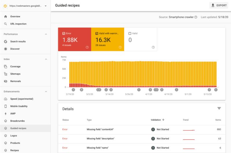 Google Search Console agrega nuevos informes de recetas guiadas