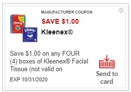 LOAD $1.00/4 box's Kleenex Tissues CVS APP ONLY MFR Coupon (go to CVS App)