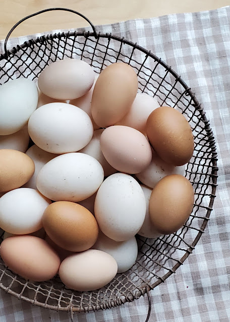 wire basket full of brown and white eggs