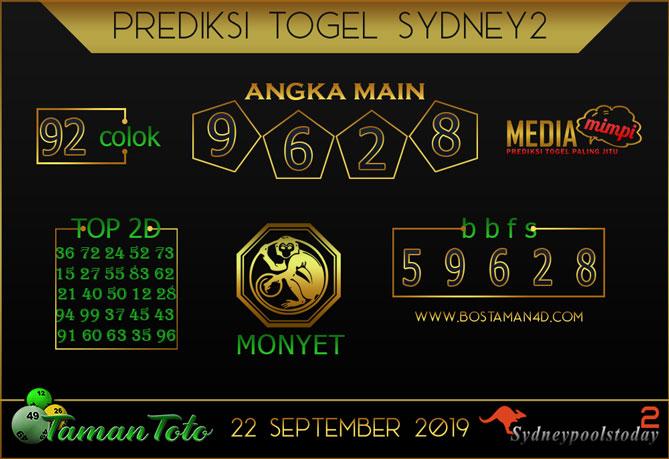 Prediksi Togel SYDNEY 2 TAMAN TOTO 22 SEPTEMBER 2019