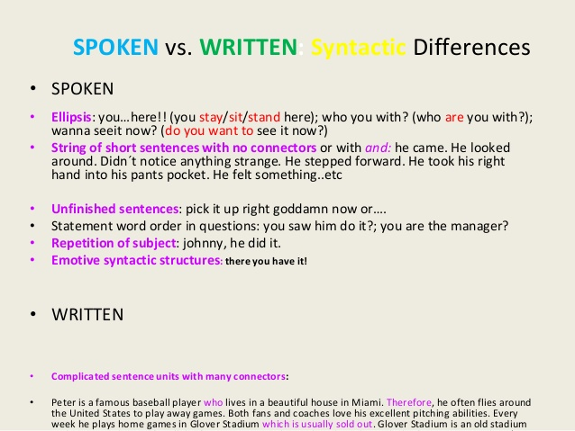 difference written and spoken Written vs spoken language , 1994) of written language compared to spoken i written  differences between spoken and written language:.