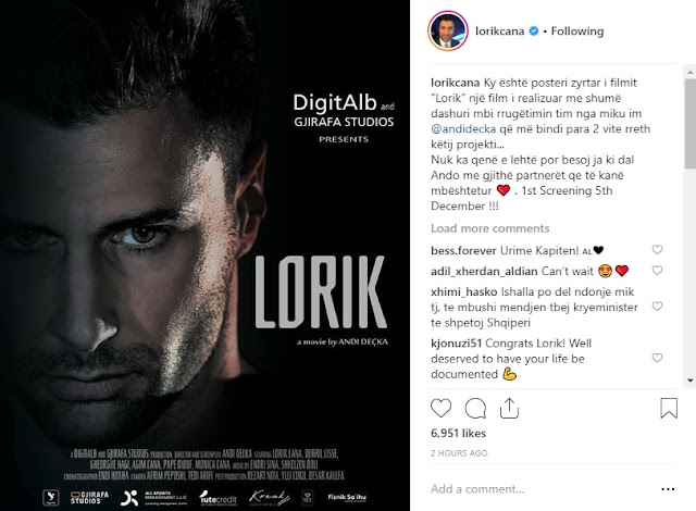 A movie about Lorik Cana life in cinema on December 5