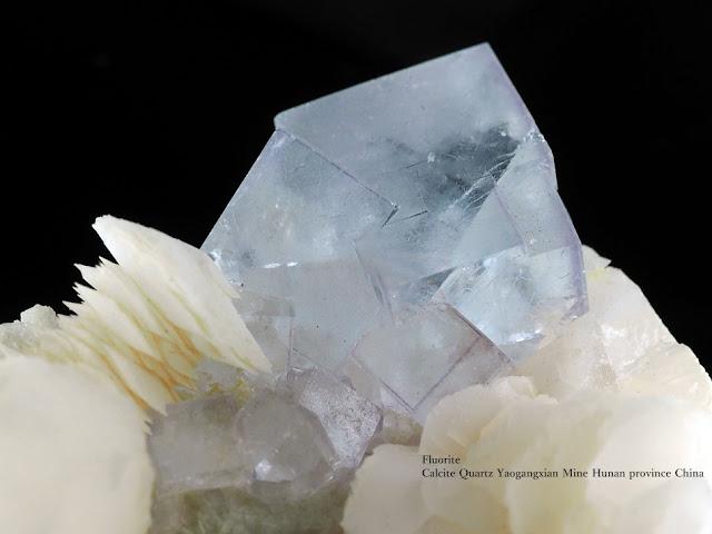 フローライト 蛍石 クォーツ カルサイト Fluorite Calcite Quartz Yaogangxian Mine Hunan province China