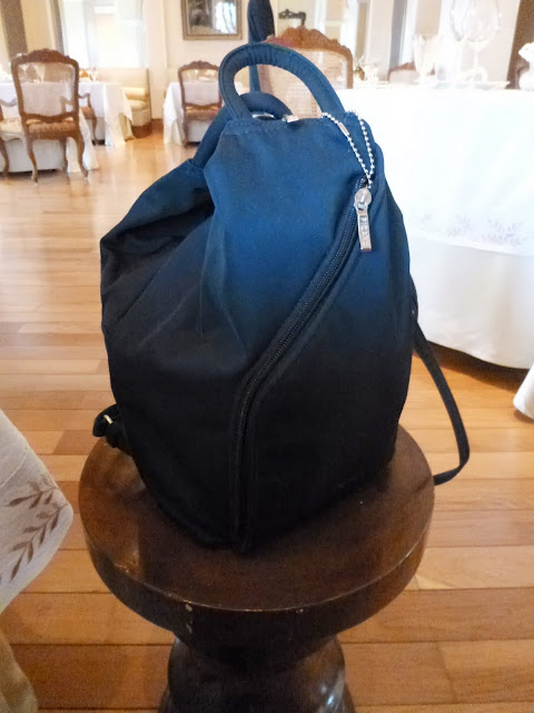 Backpack on a pedestal at Falaknuma Palace