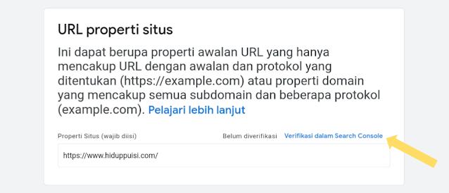 Verifikasi situs pada saat daftar Google News