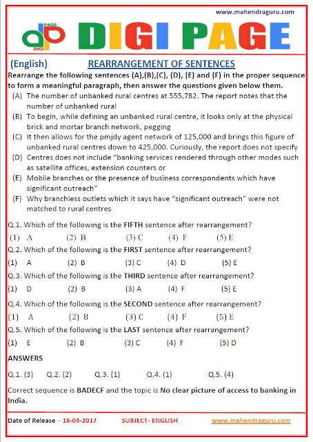DP | REARRANGEMENT OF SENTENCES | 18 - APR - 17 | IMPORTANT FOR SBI PO
