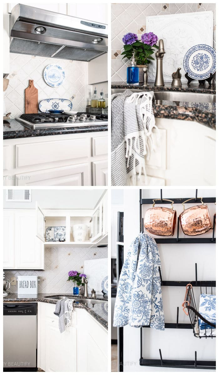 vintage blue touches in the kitchen