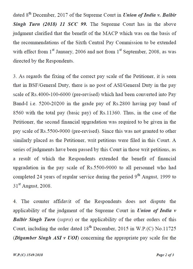 judgement on MACP