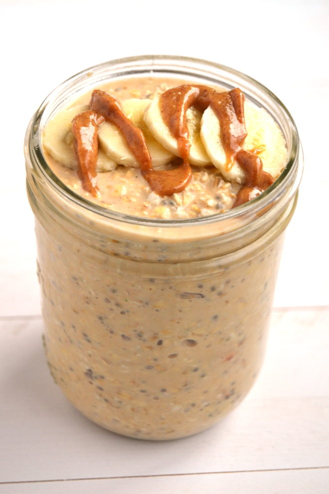 Peanut Butter and Banana Overnight Oats take 5 minutes of prep time the night before and you will have a delicious breakfast ready to go in the morning!