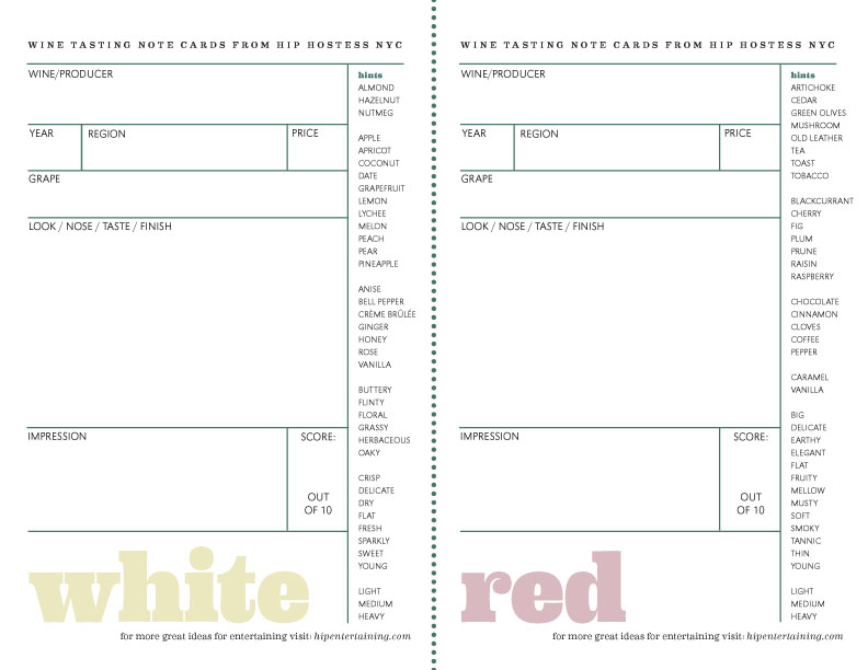 Hip hostess nyc how to host a wine tasting for Wine tasting sheet template