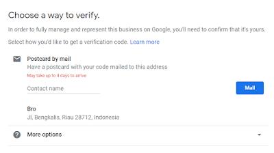 """Langkah selanjutnya adalah mengisi kontak nama pada box yang bertuliskan """"Optional contact name"""". Gunanya untuk mengirim postcard yang berisi kode verifikasi agar akun bisnis anda terverifikasi oleh pihak google. Jika sudah diisi, klik saja Mail."""