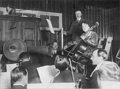 Sir Edward Elgar recording his Cello Concerto with soloist Beatrice Harrison in 1920